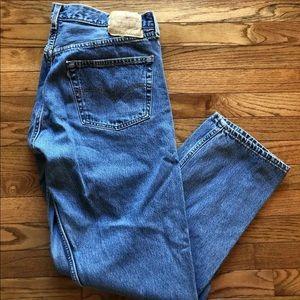 Levi Strauss 501 Button Fly Med Blue Denim Jeans